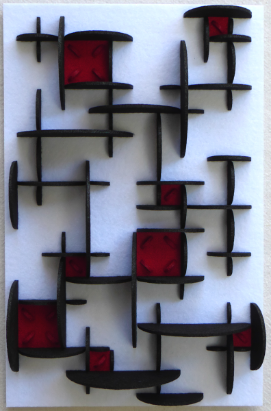 Stitches with red squares